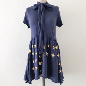 WILDFOX | Blue Gold Star Mini Pussybow Dress